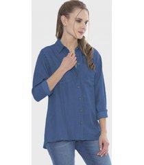 blusa mezclilla bolsillos básica azul curvi