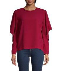 iro women's ruffled long-sleeve top - wine - size 34 (2)