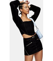 black zip front pelmet denim skirt - black