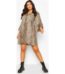 plus dierenprint blouse jurk met middellange mouwen, brown