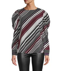 karl lagerfeld paris women's printed puffed-sleeve blouse - black mulled wine - size s
