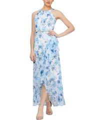 sl fashions petite floral-print gown