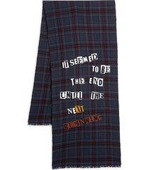 valentino garavani men's plaid text-print wool scarf - navy