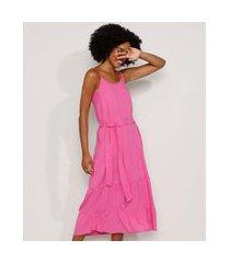 vestido feminino midi com recortes alça fina pink