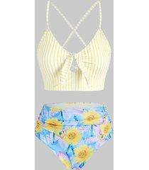 striped sunflower crisscross lace-up reversible tankini swimwear