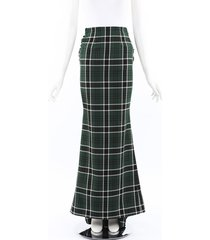 rosie assoulin 2019 tie back plaid maxi skirt
