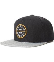 men's brixton oath iii snapback baseball cap - black
