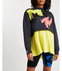 river island womens grey mtv pleated sweatshirt
