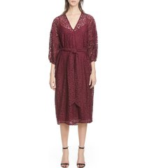 women's roseanna lace v-neck midi dress