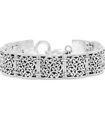 lois hill square scroll station bracelet in sterling silver