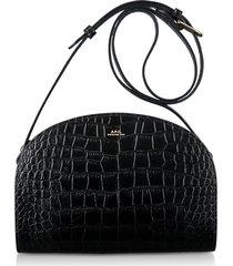 a.p.c. black croco embossed leather demi-lune shoulder bag