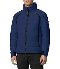 men's canada goose updated hybridge base hooded 750 fill power down jacket, size large - blue