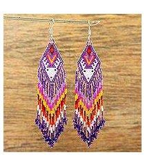 glass beaded waterfall earrings, 'white huichol deer' (mexico)