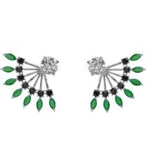 brinco ear jacket the ring boutique cristais verde esmeralda zb ródio ouro branco