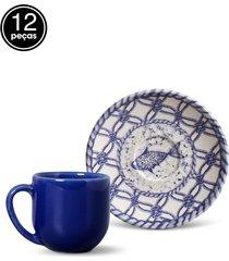 conjunto 12pã§s xãcaras de cafã© porto brasil coup fish azul/branco - azul - dafiti