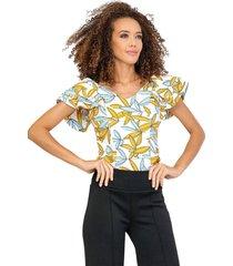 blusa triple manga cierre decorativo espalda amarillo 32312 unipunto