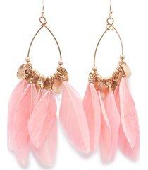 aretes rosa color dorado, talla uni