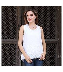 sleeveless cotton top, 'summer charm' (india)
