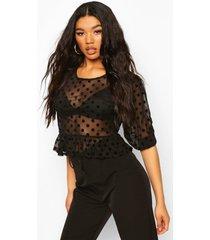 mesh polka dot peplum blouse, black