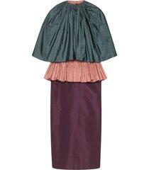 gucci taffeta peplum dress - purple