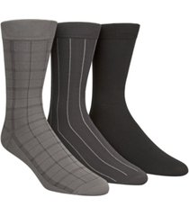 calvin klein microfiber windowpane 3-pack dress socks