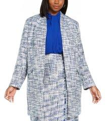 calvin klein plus size tweed open-front topper jacket