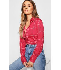 large grid oversized shirt, wine