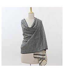 silk shawl, 'geometric fusion' (india)