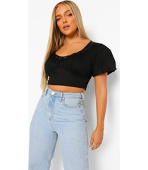 geweven crop top met kanten zoom en pofmouwen, black