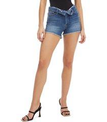 women's good american the cutoff foldover high waist denim shorts, size 10 - blue