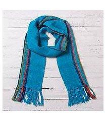 100% alpaca scarf, 'sky stream' (peru)