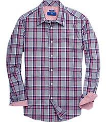 egara navy & raspberry plaid sport shirt