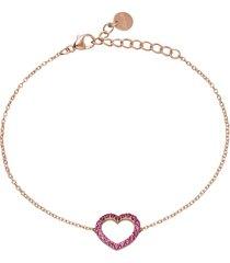 bracciale cuore in argento rosato con zirconi rosa per donna