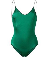 oséree travaille lace trim swimsuit - green