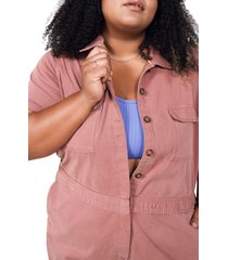 women's bp. + wildfang utility short sleeve jumpsuit, size medium - brown (regular & plus size) (nordstrom exclusive)