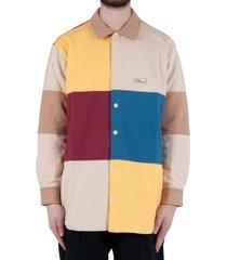 fleece color block shirt - multicolor