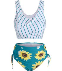striped sunflower cinched twist tankini swimwear
