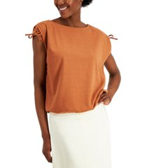 alfani petite drawstring-shoulder top, created for macy's