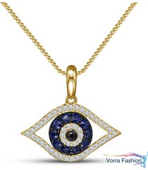 black diamond eye pendant with chain 14k yellow gold plated 925 sterling silver