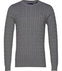 cotton cable crew stickad tröja m. rund krage grå gant