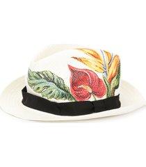 dolce & gabbana anthurium print panama hat - white