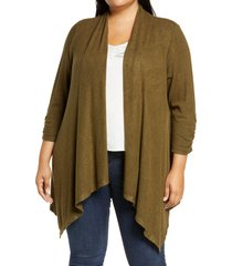 plus size women's bobeau cozy drape front cardigan, size 3x - green
