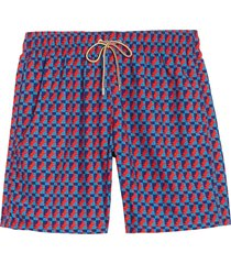 men's bugatchi retro fish print swim trunks