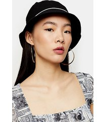 black piped bucket hat - black