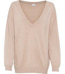 maglione oversize con scollo a v (beige) - bodyflirt
