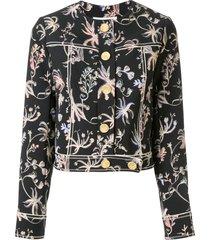 peter pilotto cropped floral print jacket - black