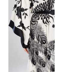 couture black peacock robe, women's, white, 100% silk, size m/l, josie natori