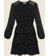 motivi vestito in georgette fantasia stelle donna nero