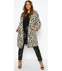 leopard printed teddy fur coat, stone