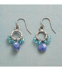 denim dot earrings